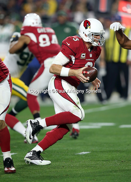 Arizona Cardinals quarterback Carson Palmer (3) drops back to pass during the NFL NFC Divisional round playoff football game against the Green Bay Packers on Saturday, Jan. 16, 2016 in Glendale, Ariz. The Cardinals won the game in overtime 26-20. (©Paul Anthony Spinelli)