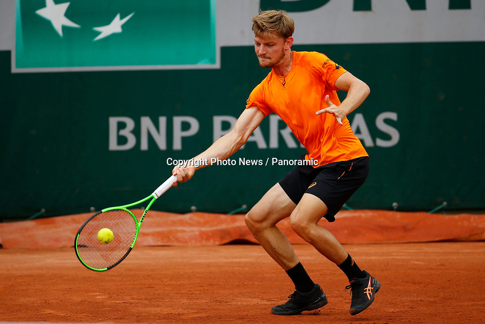 PARIS, FRANCE - MAY 29 :  David Goffin (Bel) vs Paul Henry Mathieu (F)   during the training session before the French Open of Roland-Garros , on May 29, 2017 in Paris , France.