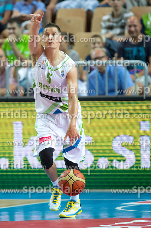 Jaka Lakovic of Slovenia during friendly match between National teams of Slovenia and Montenegro for Eurobasket 2013 on August 23, 2013 in Arena Bonifika, Koper, Slovenia. (Photo by Matic Klansek Velej / Sportida.com)