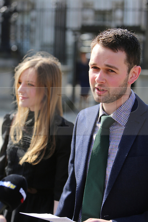 "© Licensed to London News Pictures. 9/05/2016. Belfast, Northern Ireland, UK. Daniel McArthur from Ashers Baking Company speaks to the media before entering Belfast High Court for the start Appeal hearing over gay marriage cake row with Ashers Baking Company.  The legal appeal by Ashers Baking Company in the controversial 'gay cake' case is to be heard over two days. In May last year a judge at Belfast County Court ruled that the bakery had acted unlawfully. The court ordered Ashers to pay £500 damages after Judge Isobel Brownlie said the customer had been treated ""less favourably"" contrary to the law and the bakery had breached political and sexual orientation discrimination regulations. But the McArthur family who own and run Ashers decided to challenge the ruling following consultations with their legal advisors. The family has been given the full support of The Christian Institute, which has funded their defence costs. The legal case followed a decision in May 2014 by Ashers to decline an order placed at its Belfast store by a gay rights activist who asked for a cake featuring the Sesame Street puppets, Bert and Ernie, and the campaign slogan, 'Support Gay Marriage'. The customer also wanted the cake to feature the logo of a Belfast-based campaign group QueerSpace. Ashers, owned by Colin and Karen McArthur, refused to make the cake because it carried a message contrary to the family's firmly-held Christian beliefs. They were supported by their son Daniel, the General Manager of the company. But the Equality Commission for Northern Ireland (ECNI) launched a civil action against the family-run bakery, claiming its actions violated equality laws in Northern Ireland and alleging discrimination under two anti-discrimination statutes – The Equality Act (Sexual Orientation) Regulations (NI) 2006 and The Fair Employment and Treatment (NI) Order 1998. Photo credit : Paul McErlane/LNP"