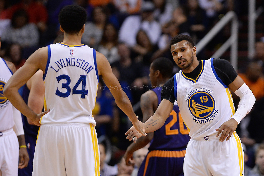 Feb 10, 2016; Phoenix, AZ, USA; Golden State Warriors guard Leandro Barbosa (19) high fives guard Shaun Livingston (34) during the game against Phoenix Suns at Talking Stick Resort Arena. Mandatory Credit: Jennifer Stewart-USA TODAY Sports