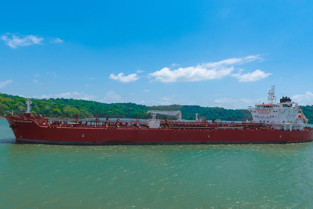 Panama Canal, Panama--April 18, tanker makes its way down the Panama Canal. Editorial use only.
