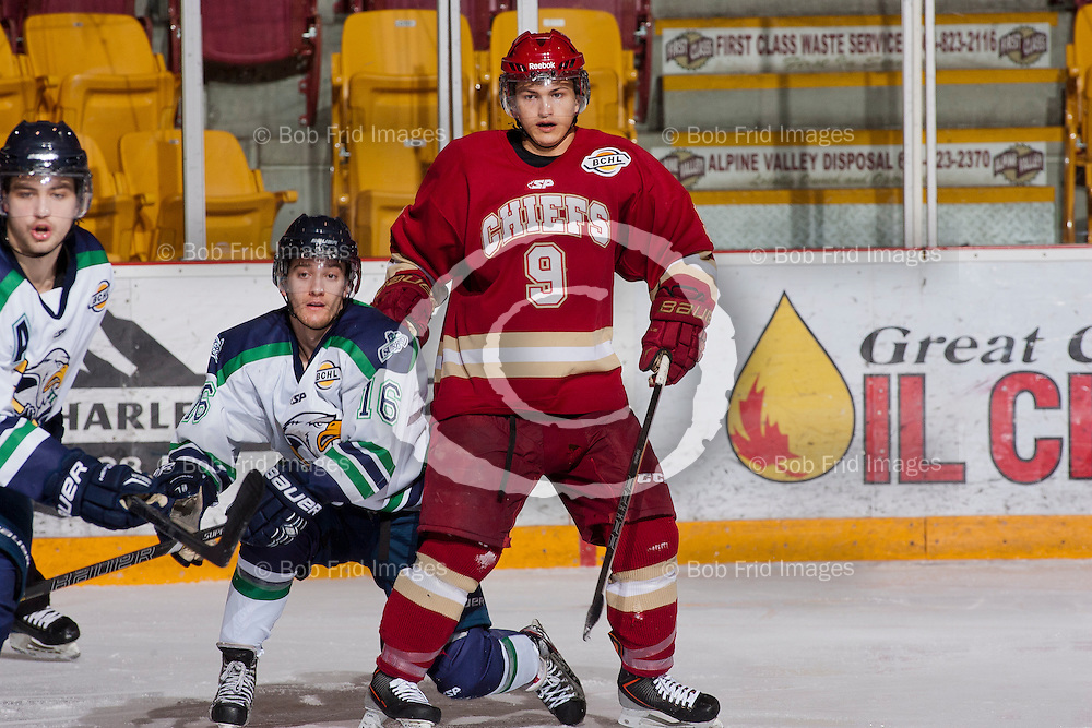 29 December 2013:   Zach Diamantoni (9) of the Chiefs  during a game between the Chilliwack Chiefs and the Surrey Eagles at Prospera Centre, Chilliwack, BC.    ****(Photo by Bob Frid - All Rights Reserved 2013): mobile: 778-834-2455 : email: bob.frid@shaw.ca ****