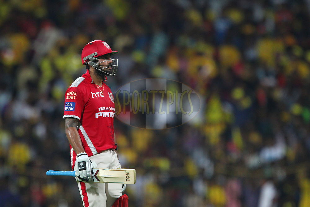 Murali Vijay of Kings XI Punjab departs during match 24 of the Pepsi IPL 2015 (Indian Premier League) between The Chennai Superkings and The Kings XI Punjab held at the M. A. Chidambaram Stadium, Chennai Stadium in Chennai, India on the 25th April 2015.<br /> <br /> Photo by:  Ron Gaunt / SPORTZPICS / IPL