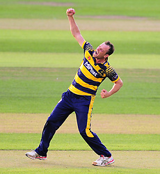 Graham Wagg of Glamorgan celebrates the wicket of Max Waller.  - Mandatory by-line: Alex Davidson/JMP - 22/07/2016 - CRICKET - Th SSE Swalec Stadium - Cardiff, United Kingdom - Glamorgan v Somerset - NatWest T20 Blast