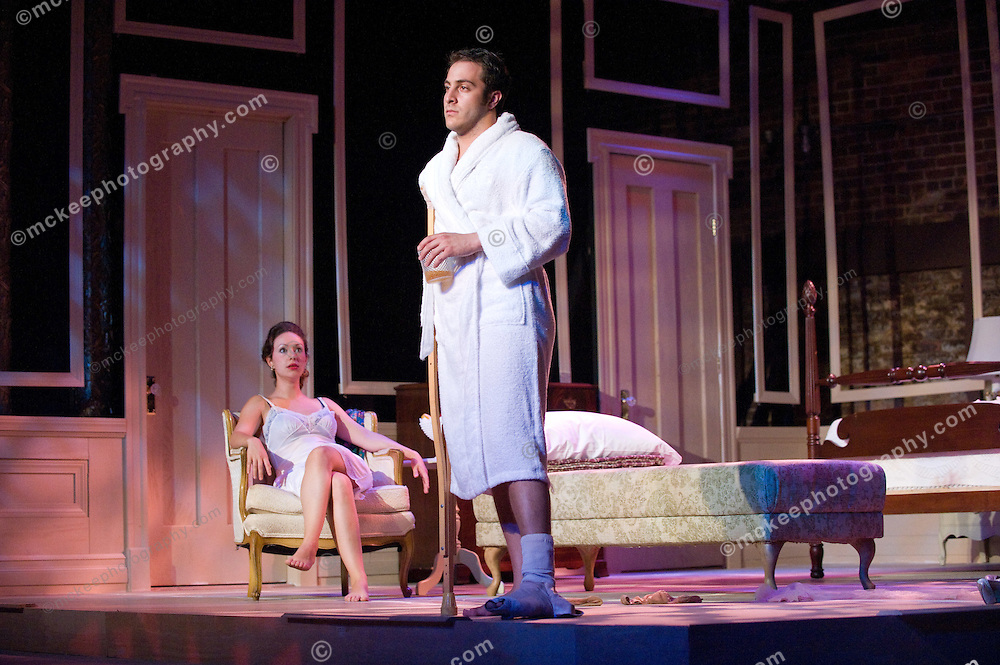 Cat on a Hot Tin Roof at Riverside Theatre Works, Directed by Jeff Kubiatowicz, Maggie Jess Moss, Brick: Jordan Ben Sobel, Big Mamma: Nora Hassan, Big Daddy: Mark Bourbeau, Dr. Baugh: Dave DiLillo, Rev Tooker: Ben Brenner, Gooper: Steven Emanuelson, Mae: Laine Binder, house servant: Salia Woodhouse, Pauly: Jessica Rae Bavly & Katarina Uhrmann, Dixie: Caitlyn Caulfield, Sonny: Liam Kenney & Curtiss O'Regan, Buster: RJ Morrison, Trixie: Sophia Manning & Ryleigh Kenney. photos by mckeephotography.com