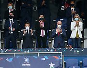 French President Emmanuel Macron, French Minister of Education Jean-Michel Blanquer, behind French Minister of Sports Roxana Maracineanu, President of French Football League (LFP) Nathalie Boy de la Tour attend the French Cup final football match between Paris Saint-Germain (PSG) and AS Saint-Etienne (ASSE) on Friday 24, 2020 at the Stade de France in Saint-Denis, near Paris, France - Photo Juan Soliz / ProSportsImages / DPPI