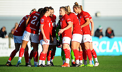 Bristol City Women huddle together prior to kick-off- Mandatory by-line: Nizaam Jones/JMP - 27/10/2019 - FOOTBALL - Stoke Gifford Stadium - Bristol, England - Bristol City Women v Tottenham Hotspur Women - Barclays FA Women's Super League