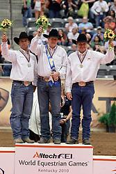 Individual podium reining competition : <br /> 1. Tom McCutcheon (USA) - Gunners Special Nite<br /> 2. Craig Schmersal (USA) - Mister Montana Nic<br /> 3. Duane Latimer (CAN) - Dun Playing Tag<br /> Alltech FEI World Equestrian Games <br /> Lexington - Kentucky 2010<br /> © Dirk Caremans