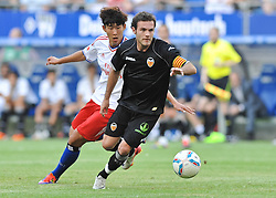 02.08.2011, Imtech Arena, Hamburg, GER, FSP, Hamburger SV (GER) vs Valencia FC (ESP) im Bild Heung Min Son (Hamburg #15) versucht sich gegen Juan Mata (Valencia #10) durchzusetzen..// during friendly match Hamburger SV (GER) vs Valencia FC (ESP) on 2011/08/02, Imtech Arena, Hamburg   EXPA Pictures © 2011, PhotoCredit: EXPA/ nph/  Witke       ****** out of GER / CRO  / BEL ******