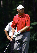 Jun 26, 2006; Gaylord MI; Andy North watches the result of his tee shot on the fifth hole of the ING Par-3 Shootout at Treetops Resort in Gaylord Michigan.