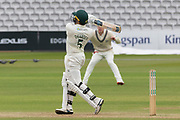 Harry Dearden pulls a 4 during the Specsavers County Champ Div 2 match between Middlesex County Cricket Club and Leicestershire County Cricket Club at Lord's Cricket Ground, St John's Wood, United Kingdom on 17 May 2019.