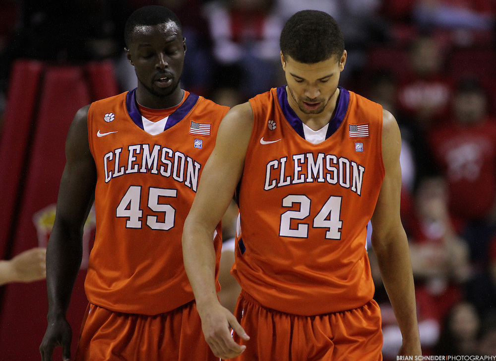 Jan 22, 2011; College Park, MD, USA; Clemson Tigers forward Jerai Grant and forward Milton Jennings (24) react against the Maryland Terrapins during the first half at the Comcast Center. Mandatory Credit: Brian Schneider-www.ebrianschneider.com
