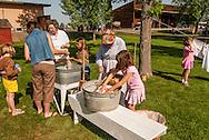 Big Horn County Historical Museum, Hardin, Montana, school children learning pioneer skills