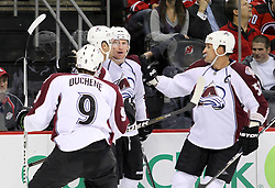Oct 15; Newark, NJ, USA; The Colorado Avalanche celebrate a goal by Colorado Avalanche left wing Cody McLeod (55) during the first period of their game against the New Jersey Devils at the Prudential Center.