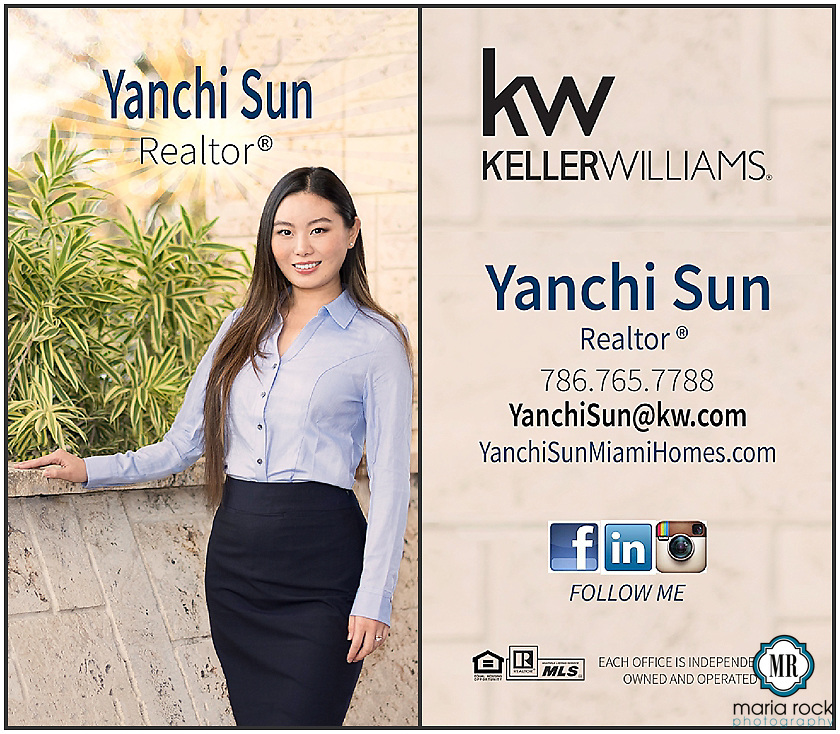 A professional vertical business card with graphic design elements gives realtor Yanchi Sun [Miami] the look she needs for her business! <br /> Commercial photoshoot, on location <br /> Pictured: Miami Realtor, Yanchi Sun <br /> [photo credit: Maria Rock Photography, @mrockphoto]
