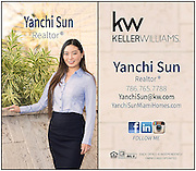 A professional vertical business card with graphic design elements gives realtor Yanchi Sun [Miami] the look she needs for her business! <br />