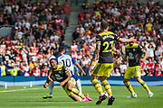 Florin Andone (Brighton) awarded a red card and is sent off following a tackle with Yan Valery (Southampton) during the Premier League match between Brighton and Hove Albion and Southampton at the American Express Community Stadium, Brighton and Hove, England on 24 August 2019.