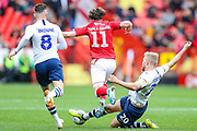Preston North End forward Jayden Stockley (20) deforms a slide tackle on Charlton Athletic midfielder Conor Gallagher (11) during the EFL Sky Bet Championship match between Charlton Athletic and Preston North End at The Valley, London, England on 3 November 2019.