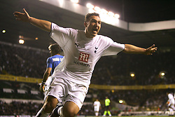 London, England - Wednesday, March 14, 2007: Tottenham Hotspur's Malbranque celebrates scoring the third Spurs goal against SC Braga during the UEFA Cup match at White Hart Lane. (Pic by Chris Ratcliffe/Propaganda)