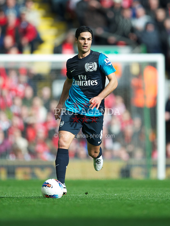 LIVERPOOL, ENGLAND - Saturday, March 3, 2012: Arsenal's Mikel Arteta in action against Liverpool during the Premiership match at Anfield. (Pic by David Rawcliffe/Propaganda)