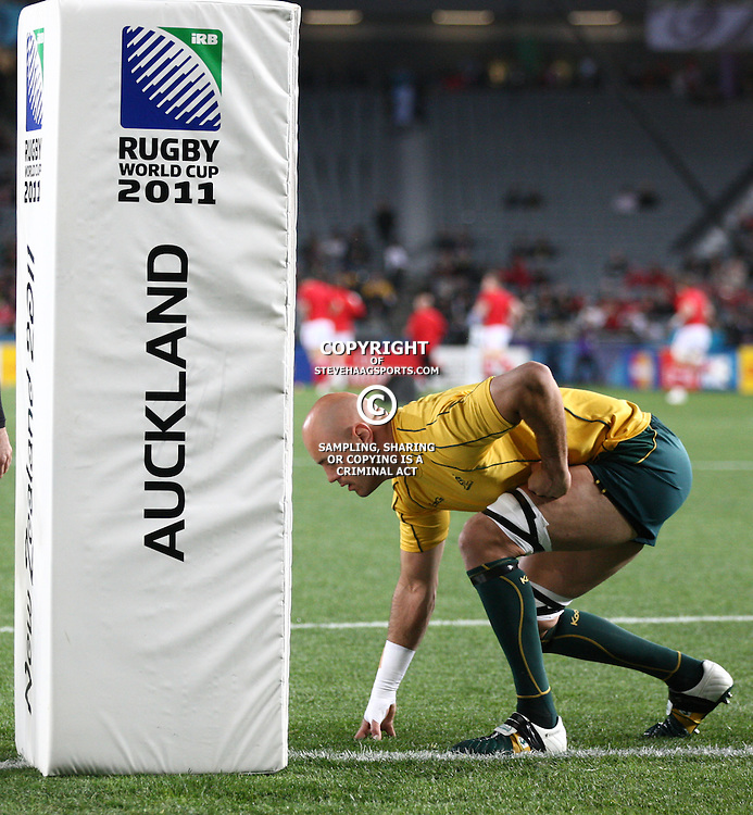 AUCKLAND, NEW ZEALAND - OCTOBER 21, Nathan Sharpe during the 2011 IRB Rugby World Cup 3rd &amp; 4th playoff match between Australia and Wales at Eden Park on October 21, 2011 in Auckland, New Zealand<br /> Photo by Steve Haag / Gallo Images
