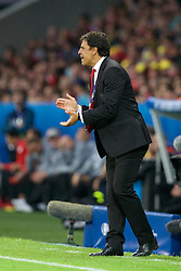 5LILLE, FRANCE - Friday, July 1, 2016: Wales manager Chris Coleman encourages his players during the UEFA Euro 2016 Championship Quarter-Final match against Belgium at the Stade Pierre Mauroy. (Pic by Paul Greenwood/Propaganda)