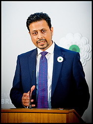 Image ©Licensed to i-Images Picture Agency. 08/07/2014. London, United Kingdom. Dr Waqar Azmi speaking at Srebrenica Memorial Reception at Lancaster House. Picture by Andrew Parsons / i-Images