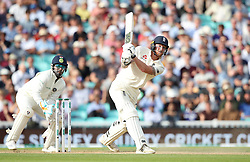 England's Ben Stokes hits six runs during the test match at The Kia Oval, London.