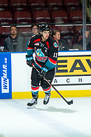 KELOWNA, CANADA - SEPTEMBER 22:  Erik Gardiner #11 of the Kelowna Rockets warms up against the Kamloops Blazers on September 22, 2018 at Prospera Place in Kelowna, British Columbia, Canada.  (Photo by Marissa Baecker/Shoot the Breeze)  *** Local Caption ***