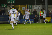 Burton Albion midfielder Joe Powell (23) celebrating after scoring goal to make it 0-1during the EFL Sky Bet League 1 match between AFC Wimbledon and Burton Albion at the Cherry Red Records Stadium, Kingston, England on 28 January 2020.