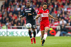 Ryan Shotton of Middlesbrough passes the ball under pressure from Jonathan Kodjia of Aston Villa - Mandatory by-line: Robbie Stephenson/JMP - 12/05/2018 - FOOTBALL - Riverside Stadium - Middlesbrough, England - Middlesbrough v Aston Villa - Sky Bet Championship