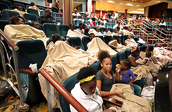 Evacuees from Freeport, Bahamas, rest onboard the Royal Caribbean's Mariner of the Seas cruise ship after it arrived in Freeport on Saturday, September 7, 2019. Photo by Joe Burbank/Orlando Sentinel/TNS/ABACAPRESS.COM