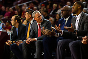 Southern California Trojans head coach Andy Enfield talks with his coaching staff during the second half of an NCAA basketball game against the South Dakota State Jackrabbits, Tuesday, Nov. 12, 2019, in Los Angeles. USC defeated South Dakota State 84-66. (Brandon Sloter/Image of Sport)