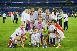 CARDIFF, WALES - Thursday, June 1, 2017: Olympique Lyonnais players celebrates with the trophy after winning the UEFA Champions League following a penalty-shoot out victory during the UEFA Women's Champions League Final between Olympique Lyonnais and Paris Saint-Germain FC at the Cardiff City Stadium. (Pic by David Rawcliffe/Propaganda)