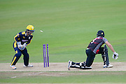 Tim Groenewald of Somerset is stumped by Lewis McManus of Hampshire during the Royal London One Day Cup match between Hampshire County Cricket Club and Somerset County Cricket Club at the Ageas Bowl, Southampton, United Kingdom on 2 August 2016. Photo by David Vokes.