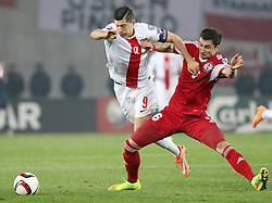 14.11.2014, Boris Paitschadse Nationalstadion, Tiflis, GEO, UEFA Euro Qualifikation, Georgien vs Polen, Gruppe D, im Bild ROBERT LEWANDOWSKI // during the UEFA EURO 2016 Qualifier group D match between Georgia and Poland at the Boris Paitschadse Nationalstadion in Tiflis, Georgia on 2014/11/14. EXPA Pictures &copy; 2014, PhotoCredit: EXPA/ Newspix/ Szymon Gorski<br /> <br /> *****ATTENTION - for AUT, SLO, CRO, SRB, BIH, MAZ, TUR, SUI, SWE only*****