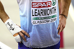 Great Britain's Guy Learmont with a bandage on his wrist before the 800m Men Heat 2 during day one of the European Indoor Athletics Championships at the Emirates Arena, Glasgow.