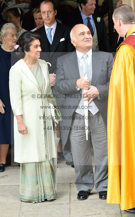 Prince Hassan bin Talal of Jordan and his wife Princess Sarvath al-Hassan at the wedding of the Hon.Alexandra Knatchbull to Thomas Hooper held at Romsey Abbey, Romsey, Hampshire on 25th June 2016