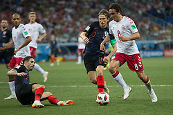 July 1, 2018 - Nizhny Novgorod, Russia - Sime Vrsaljko and Luka Modric of Croatia vies Thomas Delaney of Denmark during the 2018 FIFA World Cup Russia Round of 16 match between Croatia and Denmark at Nizhny Novgorod Stadium on July 1, 2018 in Nizhny Novgorod, Russia. (Credit Image: © Foto Olimpik/NurPhoto via ZUMA Press)