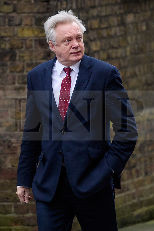 © Licensed to London News Pictures. 08/03/2017. London, UK. Secretary of State for Exiting the European Union DAVID DAVIS  arrives on Downing Street for a cabinet meeting before British chancellor Philip Hammond delivers his 2017 Budget to Parliament. Photo credit: Ben Cawthra/LNP