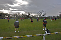 CHESTER, ENGLAND - Monday, February 4, 2008: Wales' players training in the rain during training at the Carden Park Hotel ahead of their friendly match against Norway. (Photo by David Rawcliffe/Propaganda)