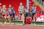 Ajee WILSON of the United States outruns Lynsey SHARP of Great Britain & NI to win the Women's 800m during the Muller Grand Prix at Alexander Stadium, Birmingham, United Kingdom on 18 August 2019.