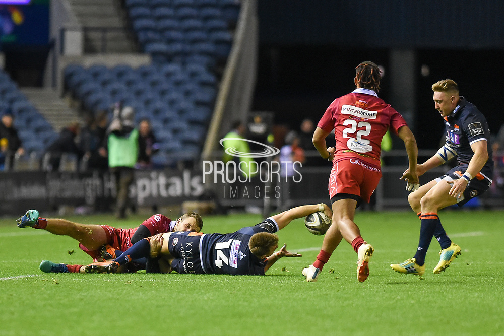 Tom Brown presents ball to Dougie Fife during the Guinness Pro 14 2018_19 match between Edinburgh Rugby and Scarlets at BT Murrayfield Stadium, Edinburgh, Scotland on 2 November 2018.