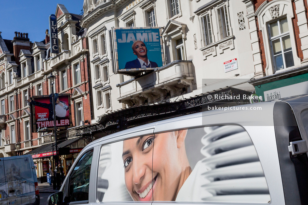 The face on a delivery van coincides with the billboard for the West End theatre production of 'Jamie' at the Apollo Theatre on Shaftesbury Avenue, on 5th September 2019, in London, England. (Photo by Richard Baker / In Pictures via Getty Images)