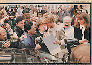 PRINCESS DIANA Tearsheet from The Sun. Princess Diana leaves the Child Bereavement Trust in Cavendish Square London. She came face to face with a stalker in a tight crowd. .27th September 1994.© Jayne Russell.