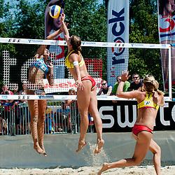 Svitlana Baburina of Ukraine vs Britta Büthe of Germany at A1 Beach Volleyball Grand Slam tournament of Swatch FIVB World Tour 2011, on August 2, 2011 in Klagenfurt, Austria. (Photo by Matic Klansek Velej / Sportida)