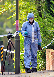 &copy; Licensed to London News Pictures.03/11/2017.<br /> PENGE, UK.<br /> POLICE FORENSICS AT THE SCENE, BETTS WAY ENTRANCE.<br /> A Murder investigation has been launched following a fatal stabbing in Penge at Betts Park, Anerley Road,<br /> Police were called at 19.22 hrs on Thursday 2 November to Betts Park,Penge near Bromley to reports of a male having been attacked. The victim was pronouced dead at the scene. The park is closed off by police.<br /> Photo credit: Grant Falvey/LNP