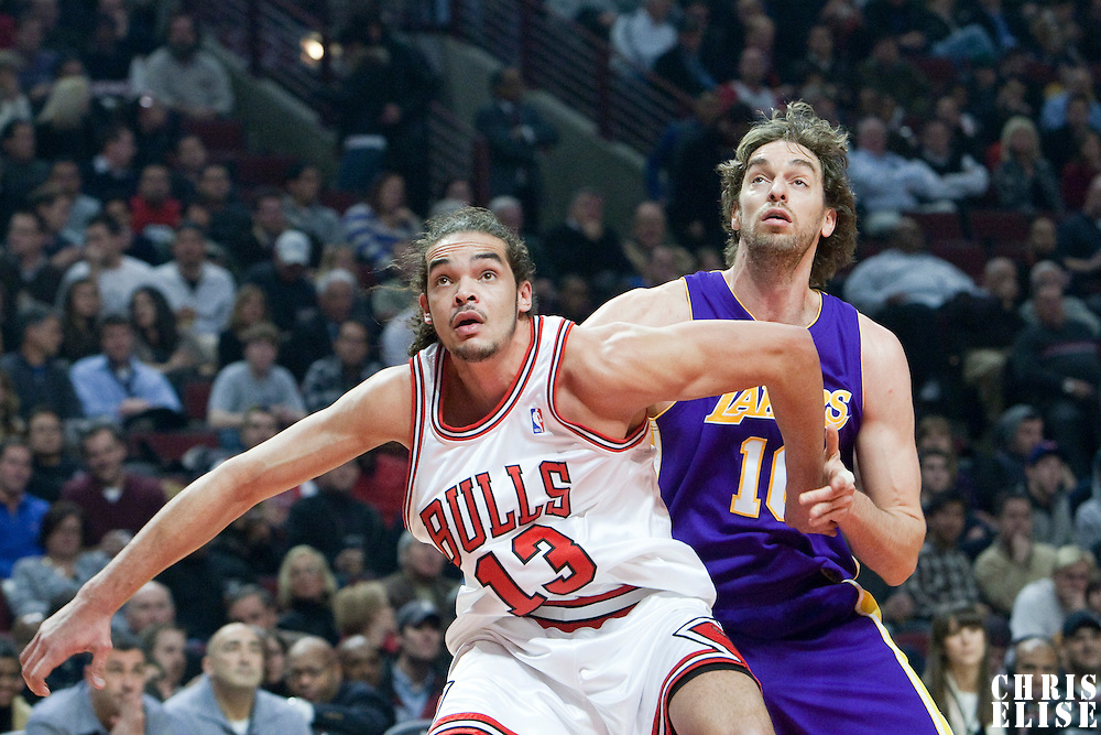 15 December 2009: Chicago Bulls center Joakim Noah vies with Los Angeles Lakers forward Pau Gasol for a rebound during the Los Angeles Lakers 96-87 victory over the Chicago Bulls at the United Center, in Chicago, Illinois, USA.