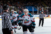 KELOWNA, CANADA - JANUARY 19:  Nolan Foote #29 and Lassi Thomson #2 of the Kelowna Rockets celebrate a goal against the Prince Albert Raiders on January 19, 2019 at Prospera Place in Kelowna, British Columbia, Canada.  (Photo by Marissa Baecker/Shoot the Breeze)